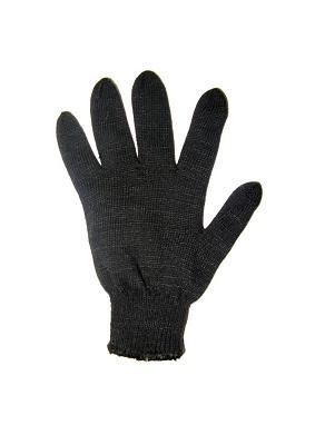 Перчатки х/б вязанные черные двойные